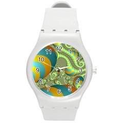 Gold Blue Fractal Worms Background Round Plastic Sport Watch (m) by Simbadda