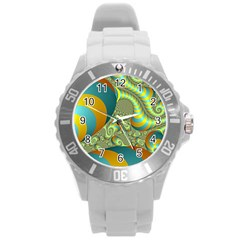 Gold Blue Fractal Worms Background Round Plastic Sport Watch (l) by Simbadda