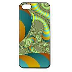 Gold Blue Fractal Worms Background Apple Iphone 5 Seamless Case (black) by Simbadda