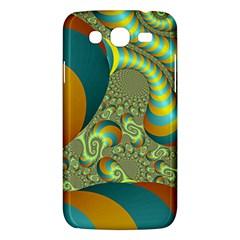 Gold Blue Fractal Worms Background Samsung Galaxy Mega 5 8 I9152 Hardshell Case  by Simbadda