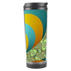 Gold Blue Fractal Worms Background Travel Tumbler by Simbadda