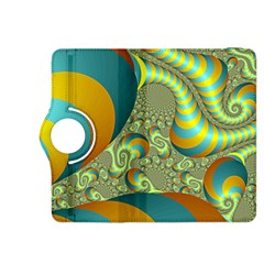 Gold Blue Fractal Worms Background Kindle Fire Hdx 8 9  Flip 360 Case by Simbadda