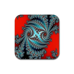 Digital Fractal Pattern Rubber Square Coaster (4 Pack)  by Simbadda