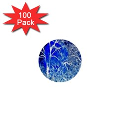 Winter Blue Moon Fractal Forest Background 1  Mini Buttons (100 Pack)  by Simbadda