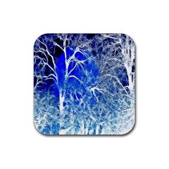 Winter Blue Moon Fractal Forest Background Rubber Coaster (square)  by Simbadda