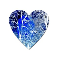 Winter Blue Moon Fractal Forest Background Heart Magnet by Simbadda