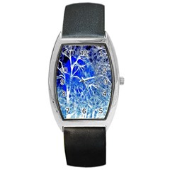 Winter Blue Moon Fractal Forest Background Barrel Style Metal Watch by Simbadda