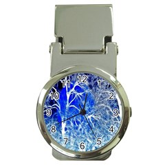 Winter Blue Moon Fractal Forest Background Money Clip Watches by Simbadda