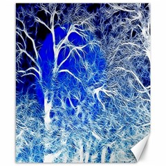 Winter Blue Moon Fractal Forest Background Canvas 8  X 10  by Simbadda