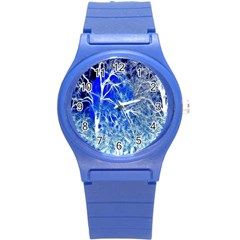 Winter Blue Moon Fractal Forest Background Round Plastic Sport Watch (s) by Simbadda