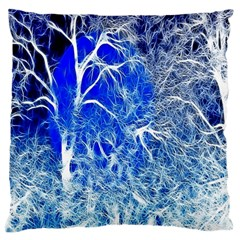 Winter Blue Moon Fractal Forest Background Large Cushion Case (two Sides) by Simbadda