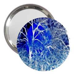 Winter Blue Moon Fractal Forest Background 3  Handbag Mirrors by Simbadda