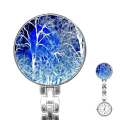 Winter Blue Moon Fractal Forest Background Stainless Steel Nurses Watch by Simbadda