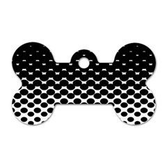 Halftone Gradient Pattern Dog Tag Bone (two Sides) by Simbadda