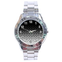 Halftone Gradient Pattern Stainless Steel Analogue Watch by Simbadda