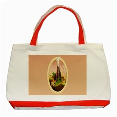 Digital Art Minimalism Nature Simple Background Palm Trees Volcano Eruption Lava Smoke Low Poly Circ Classic Tote Bag (red) by Simbadda