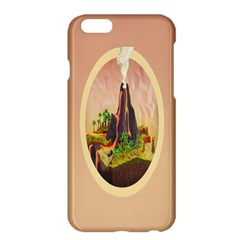 Digital Art Minimalism Nature Simple Background Palm Trees Volcano Eruption Lava Smoke Low Poly Circ Apple Iphone 6 Plus/6s Plus Hardshell Case by Simbadda