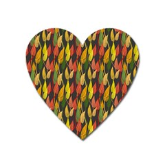 Colorful Leaves Yellow Red Green Grey Rainbow Leaf Heart Magnet by Alisyart