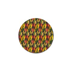 Colorful Leaves Yellow Red Green Grey Rainbow Leaf Golf Ball Marker (4 Pack) by Alisyart
