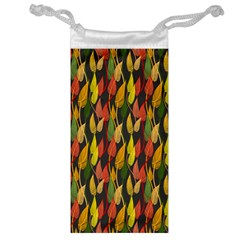 Colorful Leaves Yellow Red Green Grey Rainbow Leaf Jewelry Bag by Alisyart