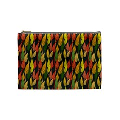 Colorful Leaves Yellow Red Green Grey Rainbow Leaf Cosmetic Bag (medium)  by Alisyart