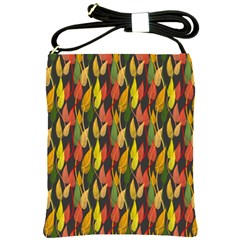 Colorful Leaves Yellow Red Green Grey Rainbow Leaf Shoulder Sling Bags by Alisyart