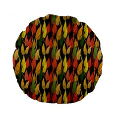 Colorful Leaves Yellow Red Green Grey Rainbow Leaf Standard 15  Premium Round Cushions by Alisyart