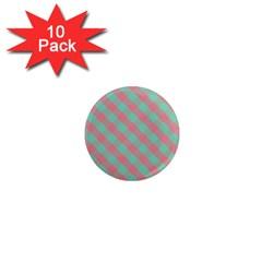 Cross Pink Green Gingham Digital Paper 1  Mini Magnet (10 Pack)  by Alisyart