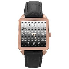 Gradient Oval Pattern Rose Gold Leather Watch  by Simbadda