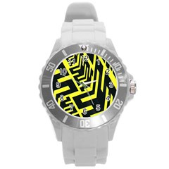 Pattern Abstract Round Plastic Sport Watch (l) by Simbadda