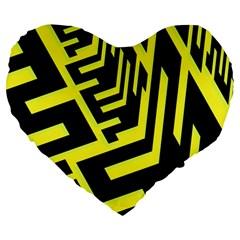 Pattern Abstract Large 19  Premium Flano Heart Shape Cushions by Simbadda
