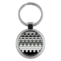Chevron Wave Triangle Waves Grey Black Key Chains (round)  by Alisyart
