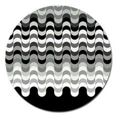 Chevron Wave Triangle Waves Grey Black Magnet 5  (round) by Alisyart