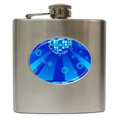 Disco Ball Retina Blue Circle Light Hip Flask (6 Oz) by Alisyart