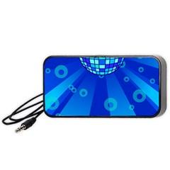 Disco Ball Retina Blue Circle Light Portable Speaker (black) by Alisyart