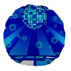 Disco Ball Retina Blue Circle Light Large 18  Premium Flano Round Cushions by Alisyart