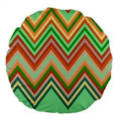 Chevron Wave Color Rainbow Triangle Waves Large 18  Premium Round Cushions by Alisyart