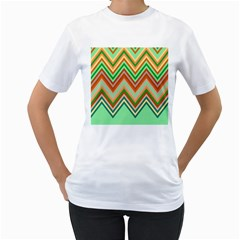 Chevron Wave Color Rainbow Triangle Waves Women s T Shirt (white)  by Alisyart