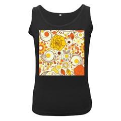 Cute Fall Flower Rose Leaf Star Sunflower Orange Women s Black Tank Top by Alisyart