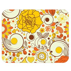 Cute Fall Flower Rose Leaf Star Sunflower Orange Double Sided Flano Blanket (medium)  by Alisyart