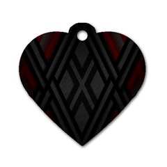 Abstract Dark Simple Red Dog Tag Heart (one Side) by Simbadda