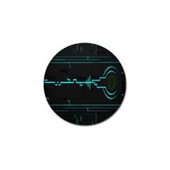 Blue Aqua Digital Art Circuitry Gray Black Artwork Abstract Geometry Golf Ball Marker by Simbadda