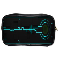 Blue Aqua Digital Art Circuitry Gray Black Artwork Abstract Geometry Toiletries Bags 2 Side by Simbadda