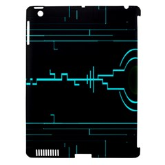 Blue Aqua Digital Art Circuitry Gray Black Artwork Abstract Geometry Apple Ipad 3/4 Hardshell Case (compatible With Smart Cover) by Simbadda