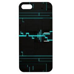 Blue Aqua Digital Art Circuitry Gray Black Artwork Abstract Geometry Apple Iphone 5 Hardshell Case With Stand by Simbadda