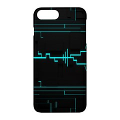 Blue Aqua Digital Art Circuitry Gray Black Artwork Abstract Geometry Apple iPhone 7 Plus Hardshell Case by Simbadda