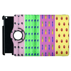 Eye Coconut Palms Lips Pineapple Pink Green Red Yellow Apple Ipad 3/4 Flip 360 Case by Alisyart