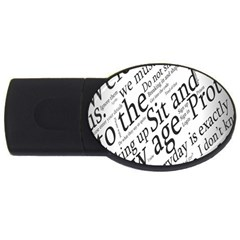 Abstract Minimalistic Text Typography Grayscale Focused Into Newspaper Usb Flash Drive Oval (2 Gb) by Simbadda