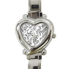 Abstract Minimalistic Text Typography Grayscale Focused Into Newspaper Heart Italian Charm Watch by Simbadda