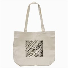 Abstract Minimalistic Text Typography Grayscale Focused Into Newspaper Tote Bag (cream) by Simbadda